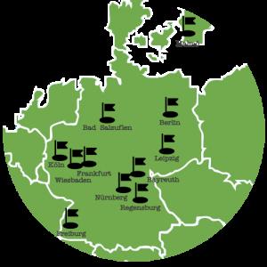 Das Team von Hashtag Gesundheit auf einer Deutschlandkarte